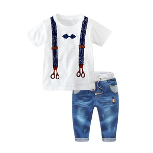 1-7Y  Boys Tee + Jeans Pants  Two-Piece Sets (HBSA-012)