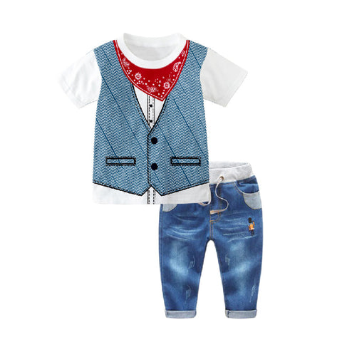 1-7Y  Boys Tee + Jeans Pants  Two-Piece Sets  (HBSA-013)