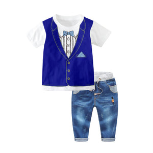 1-7Y  Boys Tee + Jeans Pants  Two-Piece Sets  (HBSA-014)