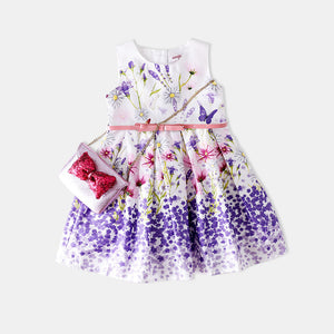 1-7Y  Romantic Purple Floral Dress  (AGD2-007)