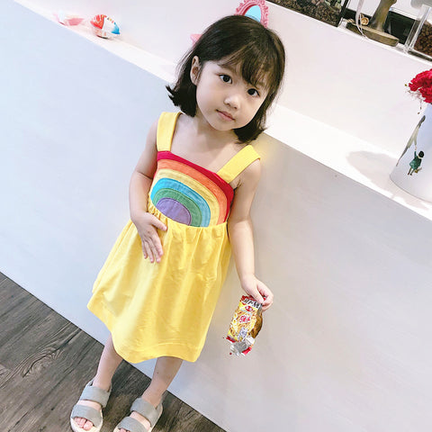 1-7Y  Girls Yellow Embroidered Rainbow Pinafore Dress  (HGDC-001)