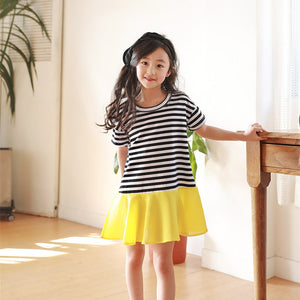 3-12Y  Girls Striped Flare-Hem T-Dress (NGD3-006)