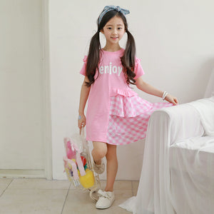 3-12Y  Girl Pink Casual Cotton T-Dress  (NGD3-007)