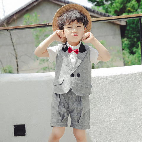 2-7Y  Boys Suit Vest, Shirt and Pants 3 Piece Set  (TCS1-017)