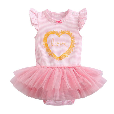 0-2Y  Baby Girls Pink Tulle Romper (VCR1-007)