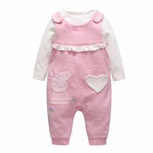 0-9M  Baby Girls Peppa Pinafore 2-pcs Sets Romper (VCR2-008)