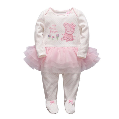 0-9M  Baby Girls Peppa Long Sleeves Tulle Romper  (VCR2-009)