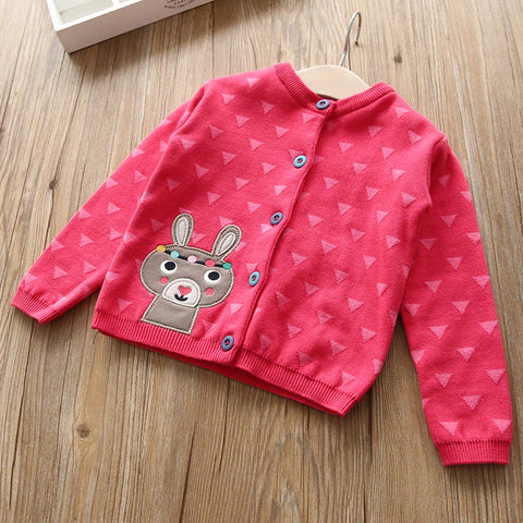 3-10Y  Girl Pink Embroidered Rabbit Cardigan  (YBJ1-010)