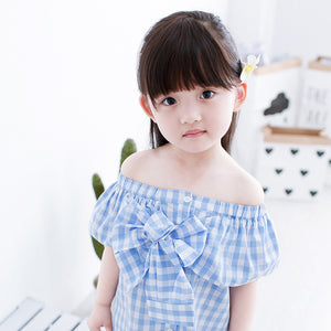 5-8Y   Girls Off-Shoulder Blue Checked Blouse  (YGT1-015)