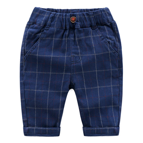 2-8Y  Boys Knee-Length Navy Checked Pants  (ZBB10-018)