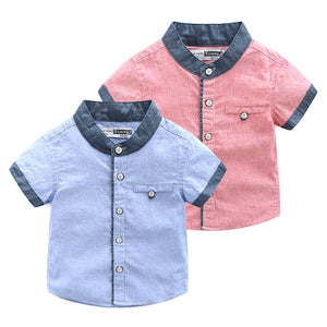 2-10Y  Boys Short Sleeves Shirts  (ZBSH-016,017)