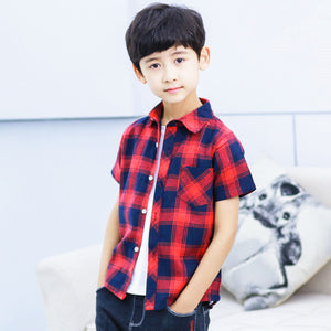 3-10Y  Boys Red Checked Short Sleeves Shirt (ZBSI-007)
