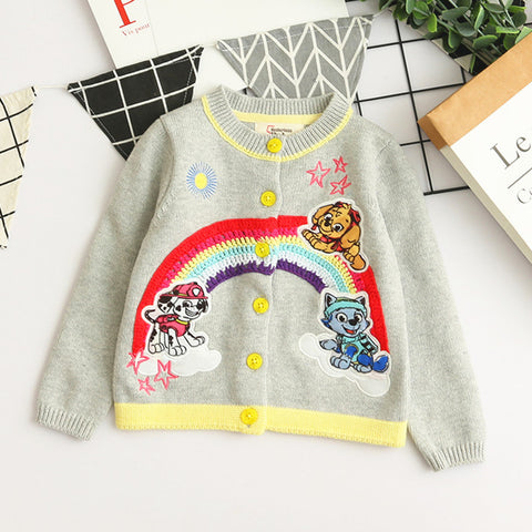 3-10Y  Girls Embroidered Rainbow Cardigan (ZGJ2-012)