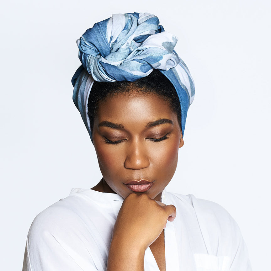 "Melanin ""Better Than Cotton"" Head Wrap (Blue Wave) - melaninhaircare"