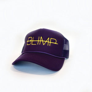 """BLIMP"" PURPLE/ YELLOW TRUCKER HAT"