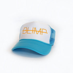 """BLIMP"" SKY BLUE/ WHITE/GOLD TRUCKER HAT"