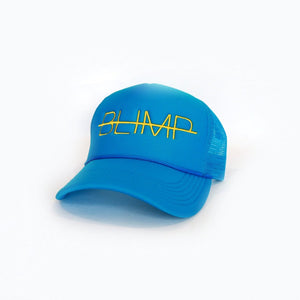 """BLIMP"" TURQUOISE/ YELLOW TRUCKER HAT"