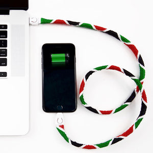 USB Charging Lanyards-Kenyan Flag Edition