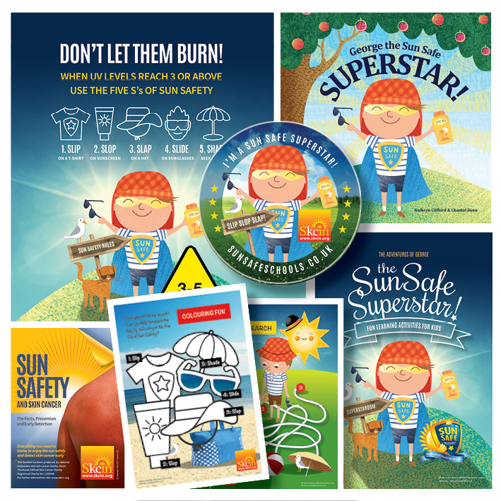 Sun Safe Nurseries Pack. Includes: A3 awareness strut board, George the Sun Safe Superstar book, activity sheets & reward stickers, and sun safety booklets for parents