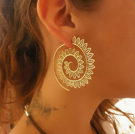 Ethnic Gold Whirlpool Spiral Earrings-Caravan Stash