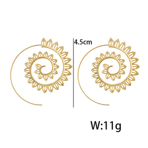 Ethnic Gold Whirlpool Spiral Earrings