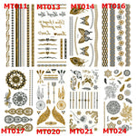 Metallic Gold and Silver Body Art Tattoos