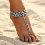 Barefoot Flower Chain Anklet Jewelry-Caravan Stash