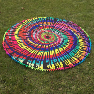 Colorful Round Tassel Tapestry -Beach Blanket- Yoga Mat