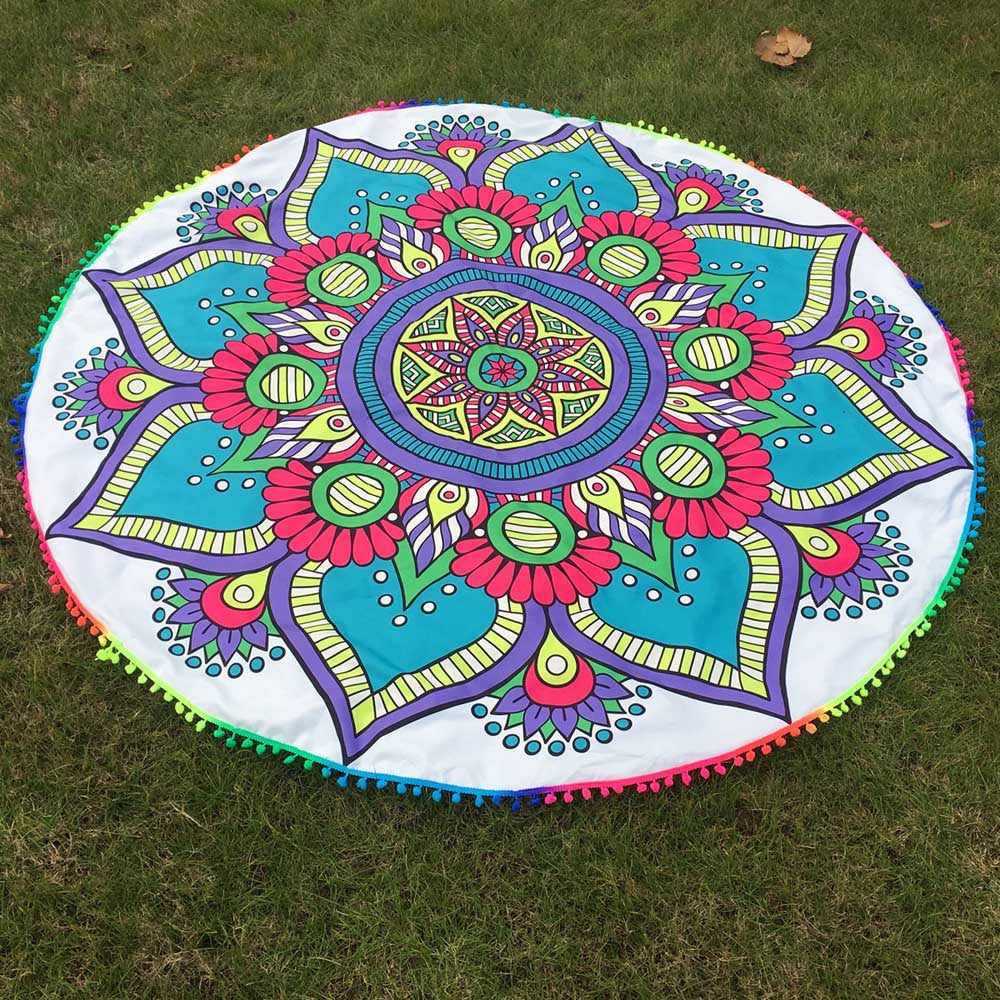 Colorful Round Tassel Tapestry -Beach Blanket- Yoga Mat-Caravan Stash
