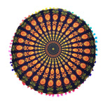 Colorful Round Mandala Floor Pillow Cover-Caravan Stash