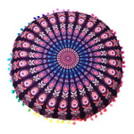 Colorful Round Mandala Floor Pillow Cover