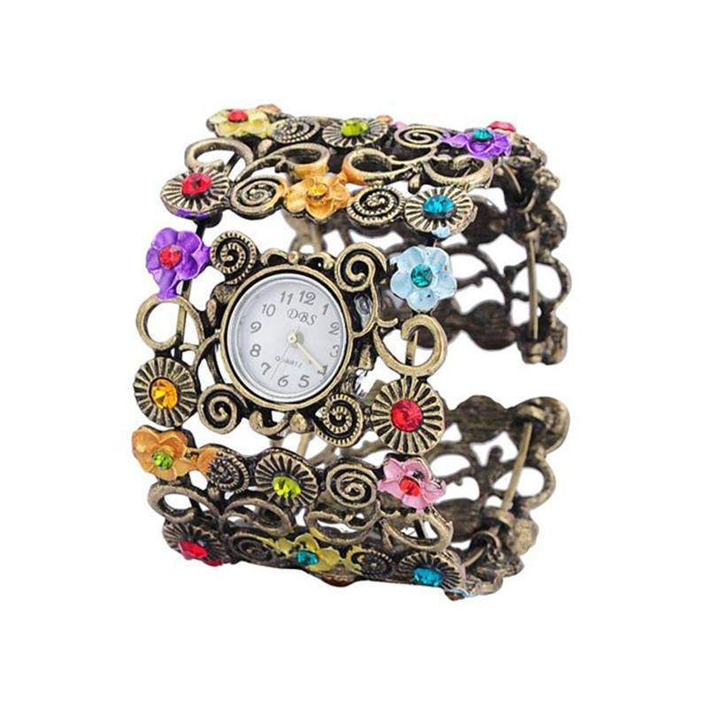 Floral Filigree and Rhinestone Cuff Bracelet Wrist Watch-Caravan Stash