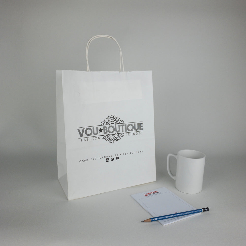 White Kraft Paper Shopping Bags (Custom Printed)