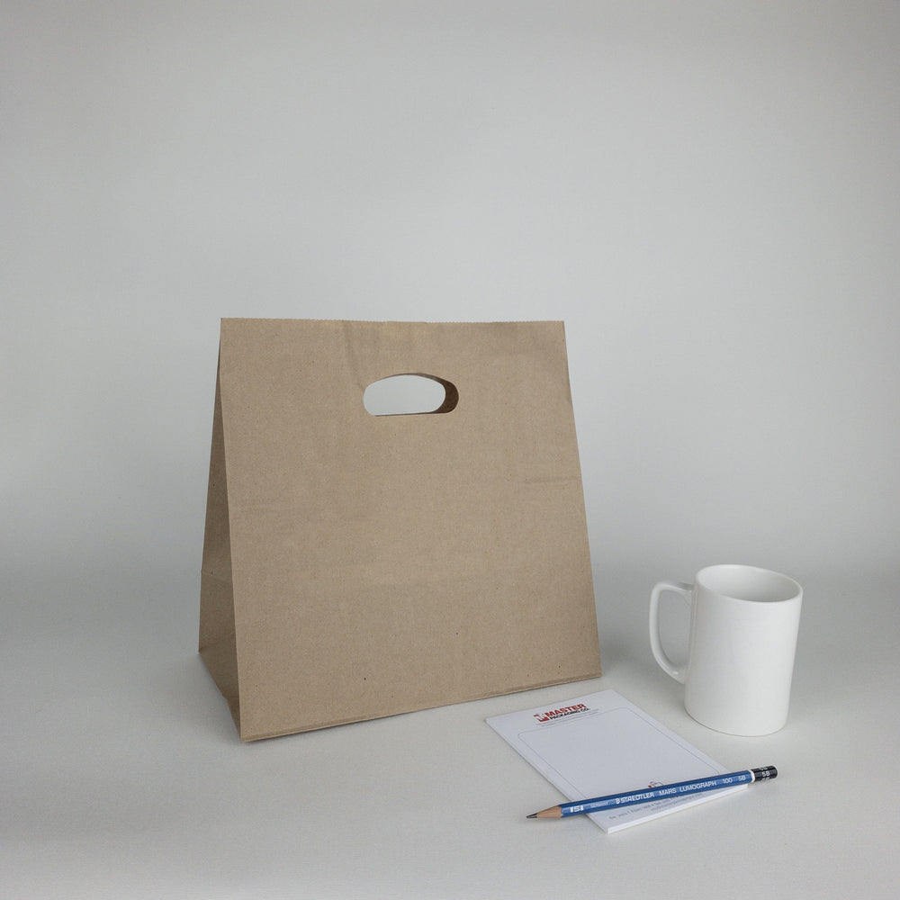 Kraft Paper Bags with Die Cut Handles (Plain)