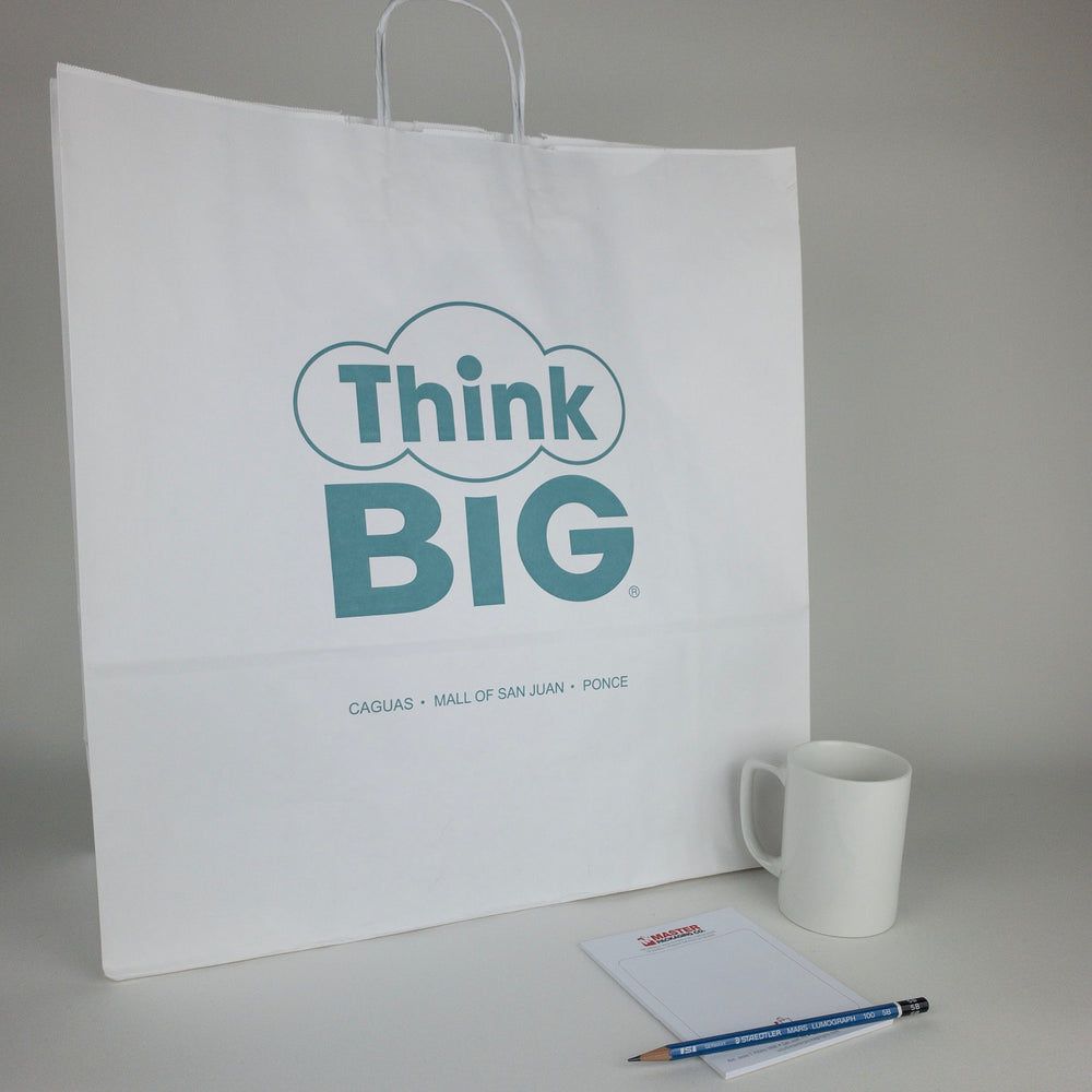 Jumbo White Kraft Paper Shopping Bags (Custom Printed)