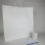 Jumbo White Kraft Paper Shopping Bags (Plain)