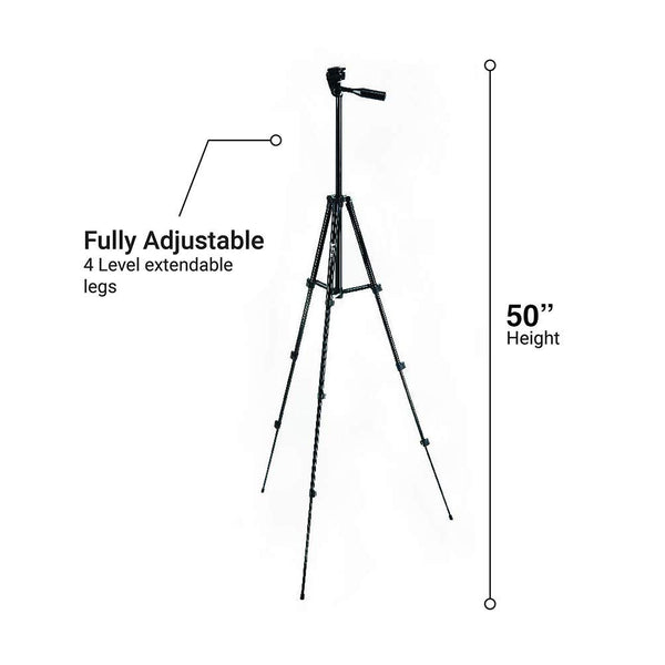 Glo3D 50'' All Aluminum Black Tripod with Phone Holder