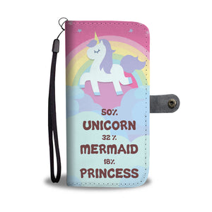 Awesome Unicorn Mermaid Princess Phone Wallet Case
