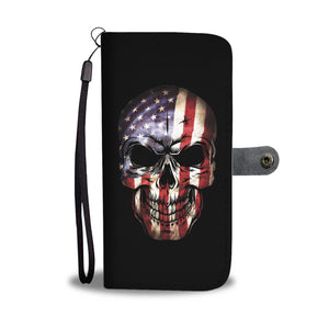 Awesome American Flag Skull Phone Wallet Case