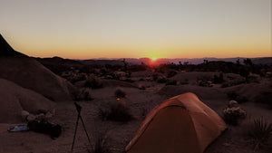 Joshua Tree desert camping at sunrise