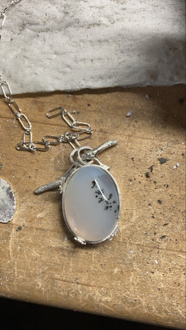 dendritic agate organic silver necklace