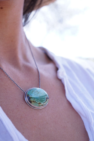oval turquoise landscape necklace