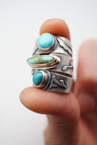 tiny stone layered ring stack