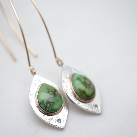 green turquoise teardrop earrings with sapphires