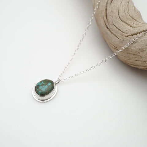 small turquoise and silver necklace pendant