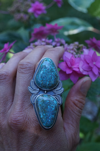two stone turquoise statement ring
