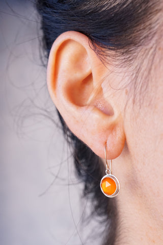 faceted carnelian and rosegold tiny dangle earrings
