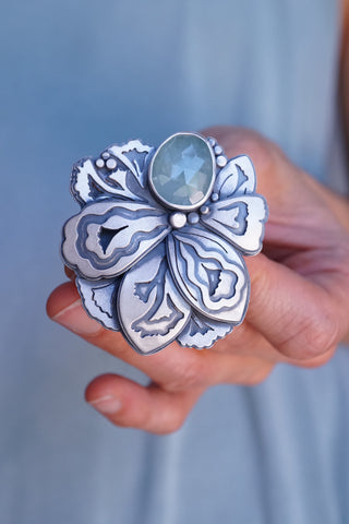 Lumenrose Aquamarine layered petal ring