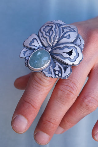 petal ring with layers and aquamarine