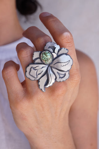 Big Beauty Layered silver statement ring with turquoise